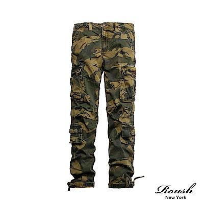 ROUSH (迷彩)下襬口袋設計高磅數水洗工作長褲 (3色)