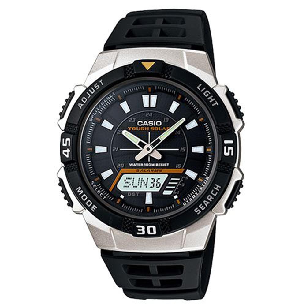 CASIO 新城市陽光遊俠電子運動錶(AQ-S800W-1E)-黑X銀框/42mm