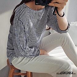 【AIRKOREA正韓空運】正韓條紋棉麻質感上衣