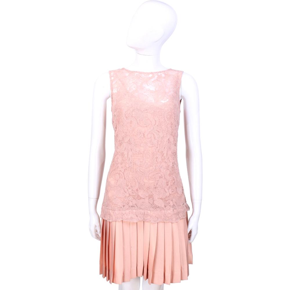 SCERVINO 粉色蕾絲拼接百褶無袖洋裝