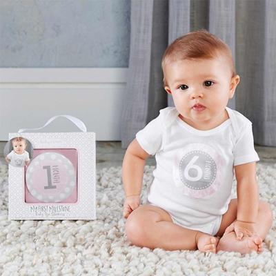 Baby Aspen BAS 粉紅寶寶月份紀錄貼紙彌月禮組