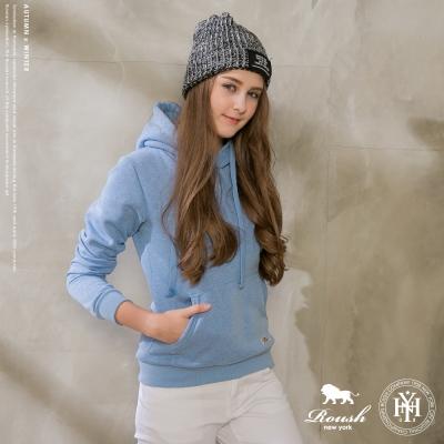 ROUSH 女生高磅數粉嫩色刷毛帽TEE (5色)