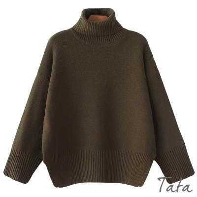 高領素面開叉針織上衣-共三色-TATA