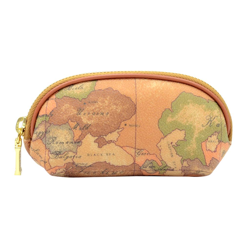 Alviero Martini 義大利地圖包 拉鍊零錢鑰匙包(小)-地圖黃