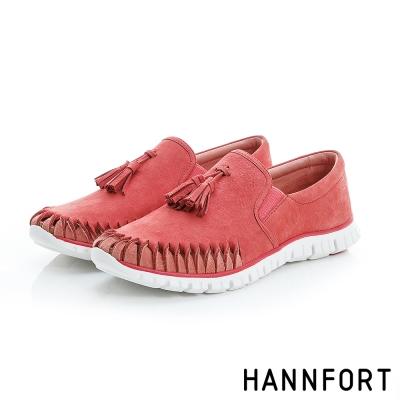 HANNFORT ZERO GRAVITY流蘇真皮氣墊休閒鞋-女-活力紅