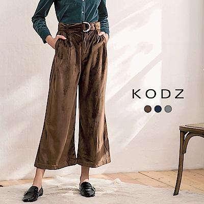 東京著衣-KODZ歐美休閒時尚質感絨面設計多色長寬褲-S.M.L