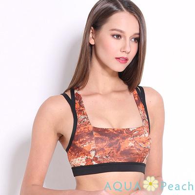 運動內衣 混色渲染縷空美背運動內衣 (暗黃色)-AQUA Peach