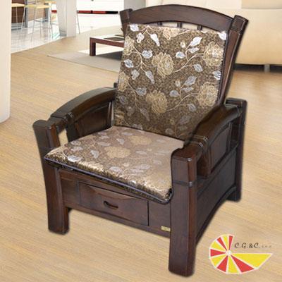 【凱蕾絲帝】木椅通~高支撐加厚連體L型坐墊(4入)- 里昂玫瑰咖啡
