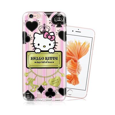 三麗鷗正版 凱蒂貓 iPhone 6 plus 5.5吋 透明軟式保護殼(撲克牌...