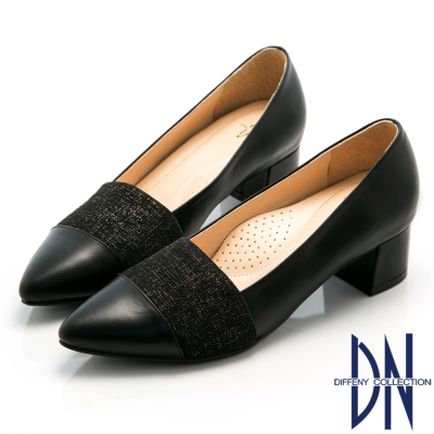 DN-優雅OL-全真皮典雅金屬絲紋尖頭低跟鞋-黑