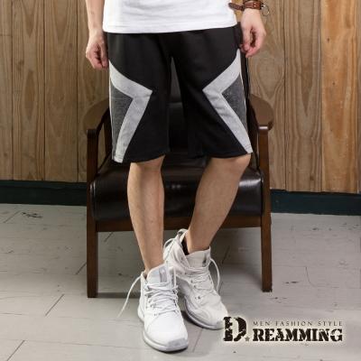 Dreamming 拼布幾何時尚混色鬆緊休閒短褲-共二色