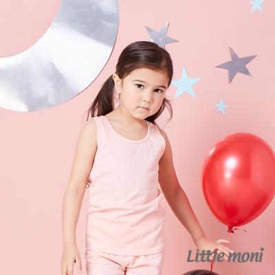Little moni 涼感系列素面兒童背心 粉橙