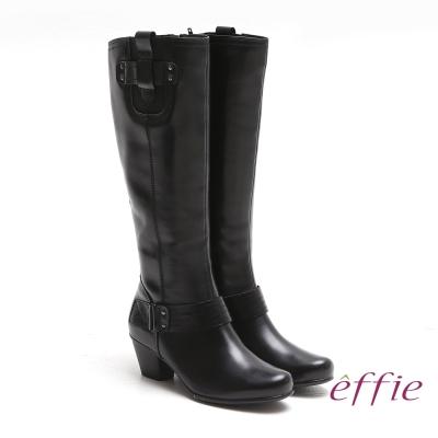 effie 城市漫遊 全真皮蠟感牛皮鬆緊帶飾長靴 黑