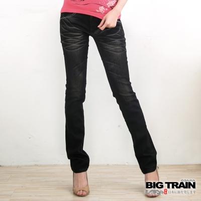 BIG TRAIN 女款 日式繡花小直筒褲-黑