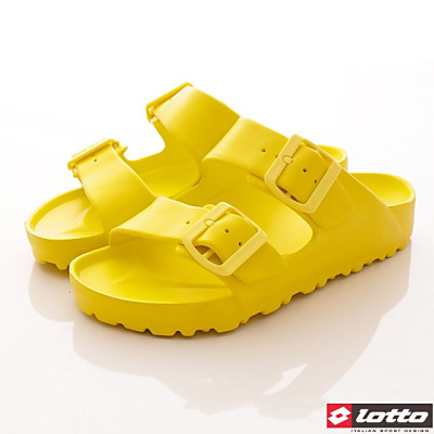 Lotto樂得-馬卡龍輕量拖鞋款-SFI624萊姆黃(女段)