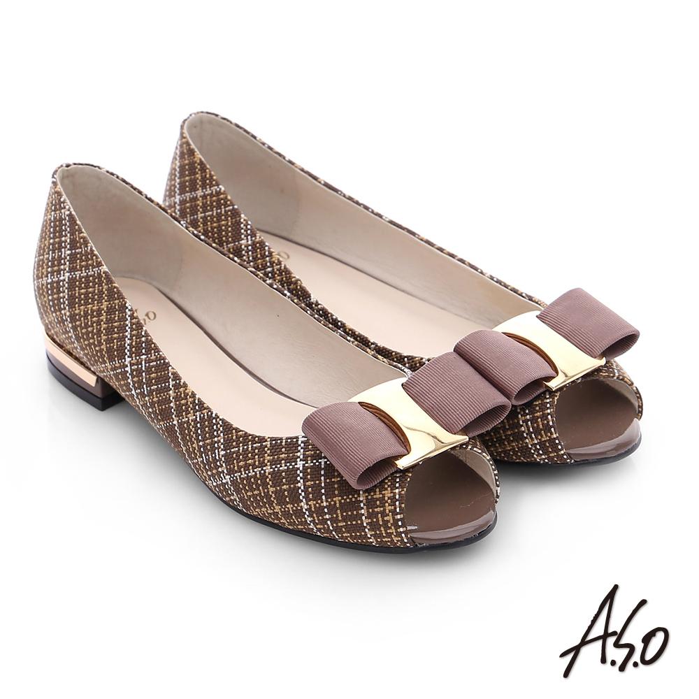 A.S.O 注目嬌點 格紋金屬織帶魚口跟鞋 深卡其