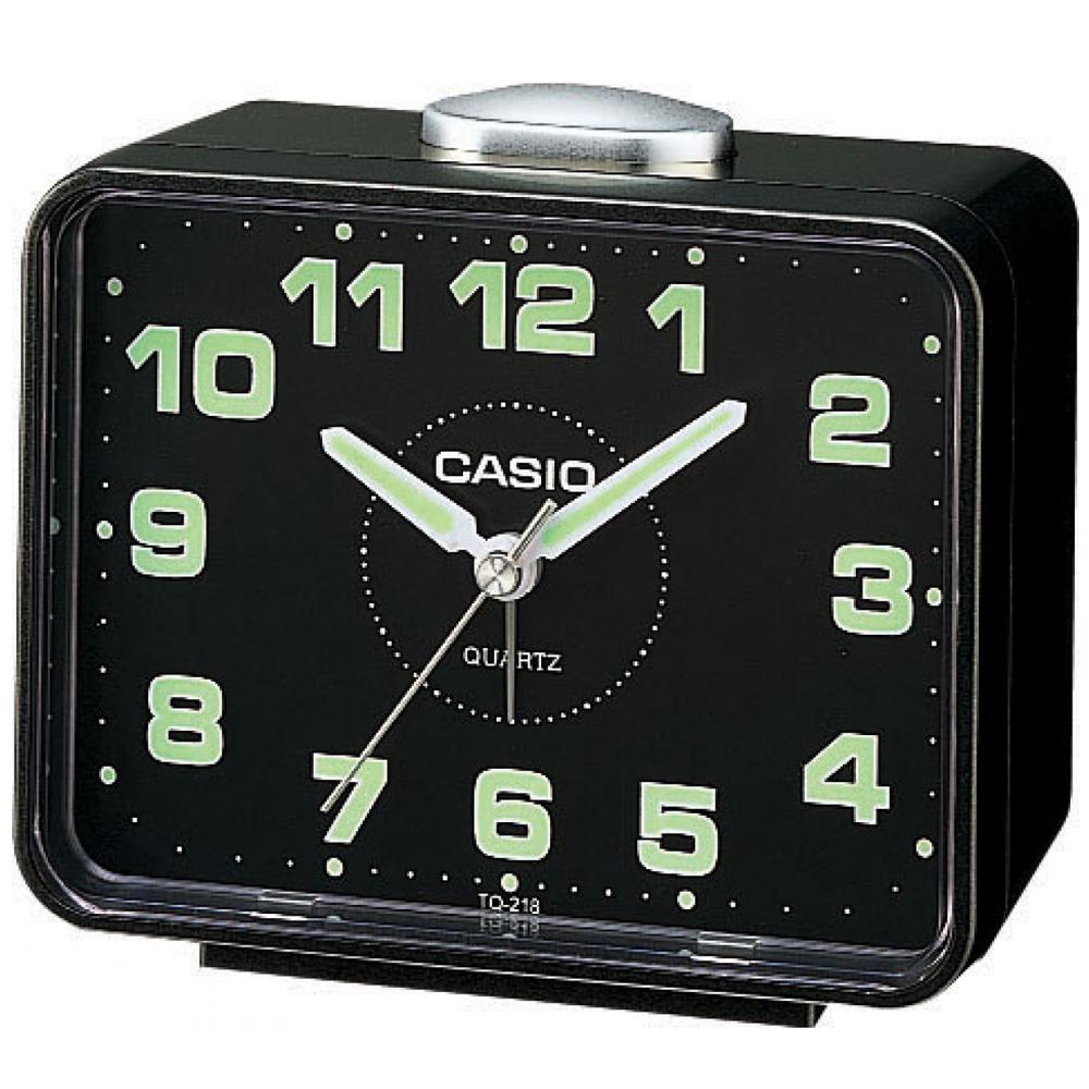 CASIO  夜間指針桌上方型簡約鬧鐘(TQ-218-1D)-黑X黑面