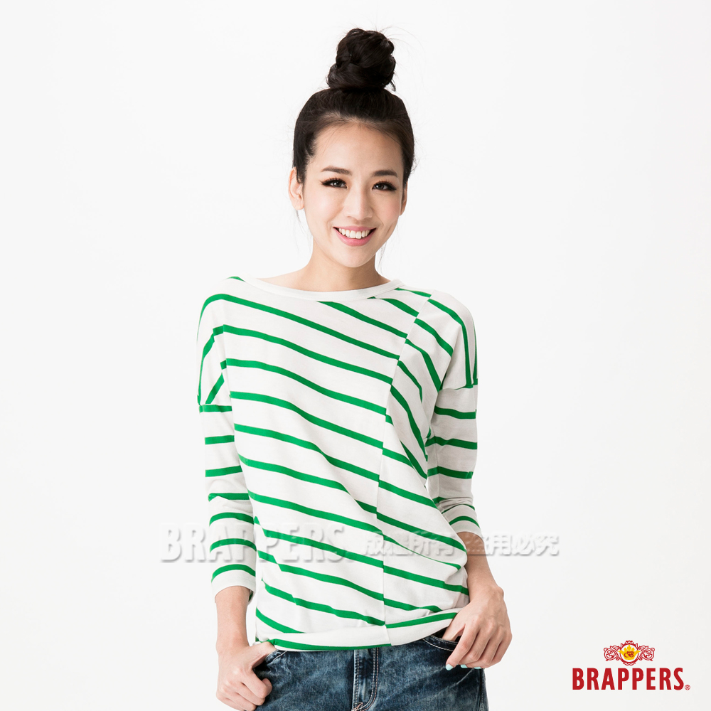 BRAPPERS 女款落肩條紋七分袖上衣--綠條