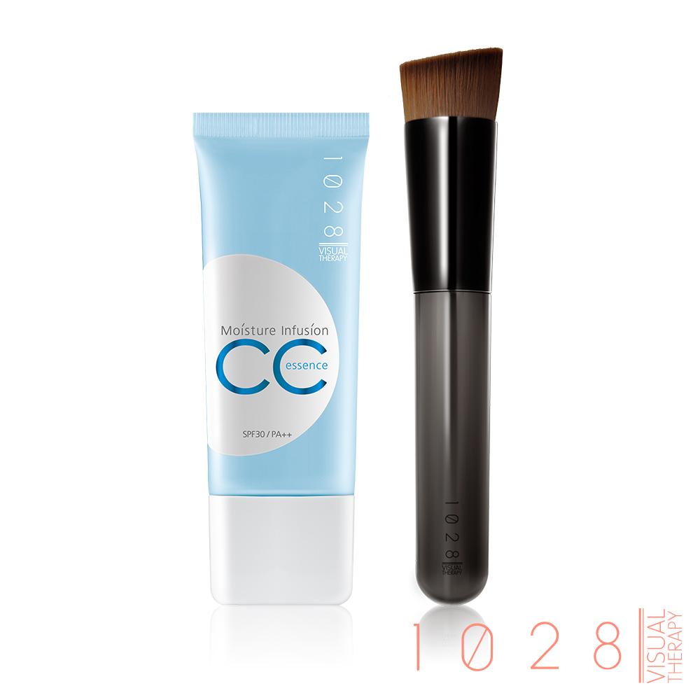 1028 全效保濕CC精華霜SPF30-30ml(兩色任選)+無痕底妝刷
