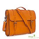手感的秀 頂級植鞣革商務氣質穿搭二用包(橘棕)