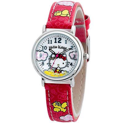 Hello Kitty 玩耍日記俏麗腕錶-白x紅色錶帶/28mm