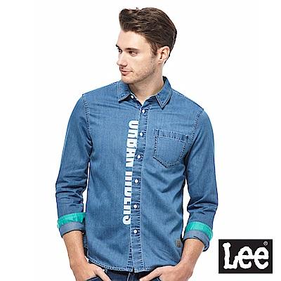 Lee UR牛仔長衫襯衫-男款-藍