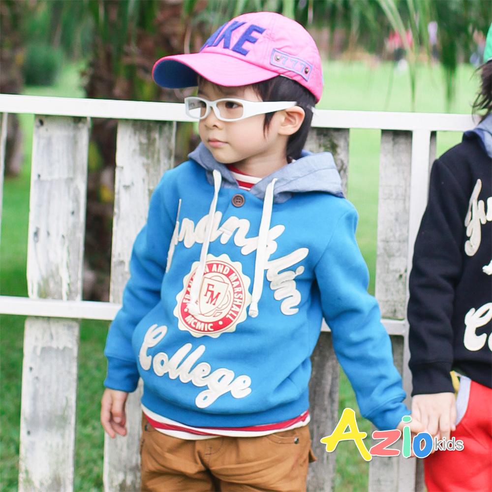 Azio Kids-FM拼接字母帽子造型刷毛T(藍)