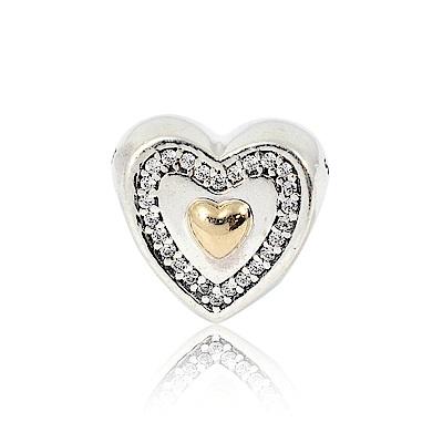 Pandora 潘朵拉 14K金刻字愛心 純銀墜飾 串珠