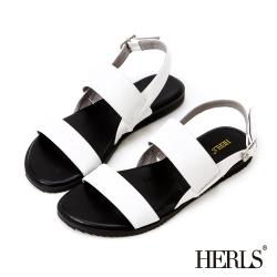 HERLS 極簡原色一字寬版繫帶涼鞋-白色