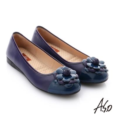 A.S.O 彈力舒芙 牛皮質感飾釦奈米平底鞋 深藍色