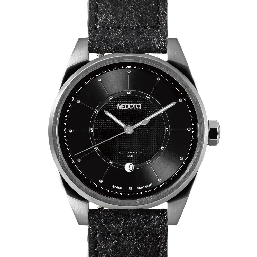 MEDOTA Grancey 伊頓系列 日顯雙層面盤手錶-黑/銀框/48mm