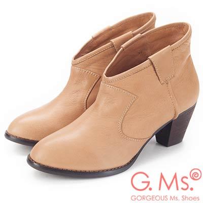G.Ms. 全真皮簡約尖頭V口粗跟踝靴-杏色