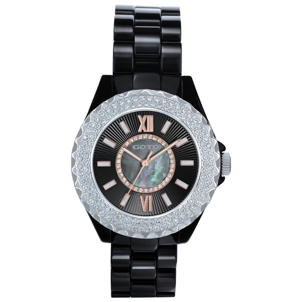 GOTO Elegance時尚晶鑽腕錶-黑x玫/39mm