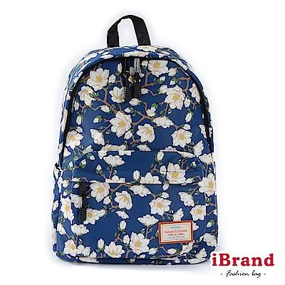 iBrand 學院風印花潮流防潑水口袋後背包-小白花