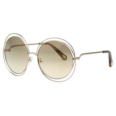 CHLOE金屬大框 水銀面 太陽眼鏡 淡金色 CE114SD(小面版並可裝眼鏡鏈)