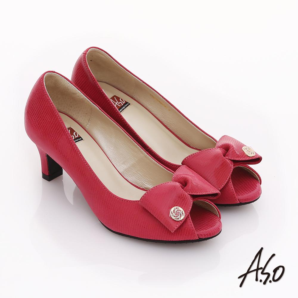 A.S.O 經典時刻 絨面真皮立體結飾魚口跟鞋  橘紅