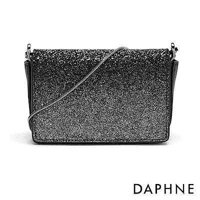 達芙妮DAPHNE-亮片金屬鍊帶多功能晚宴包-黑
