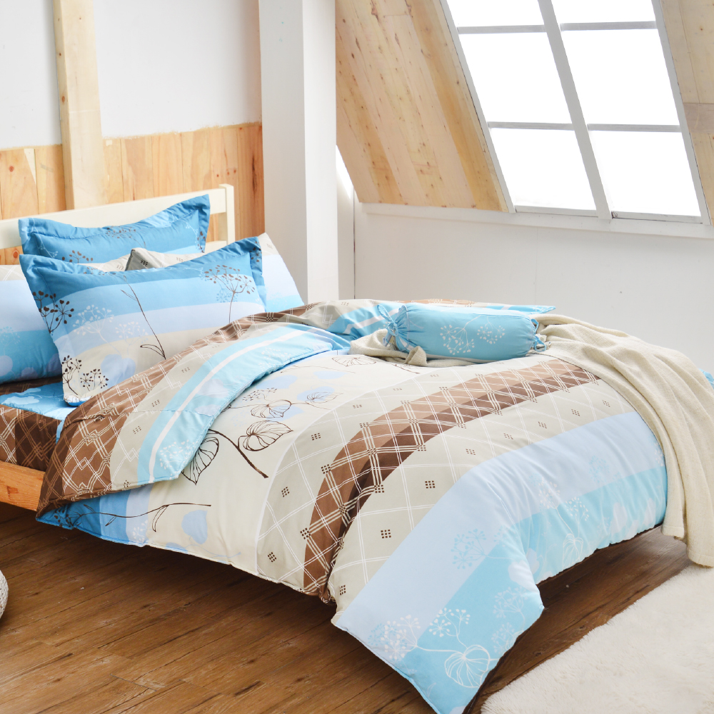 Goelia 葉語綺夢 加大 活性印染超細纖 全鋪棉床包兩用被四件組