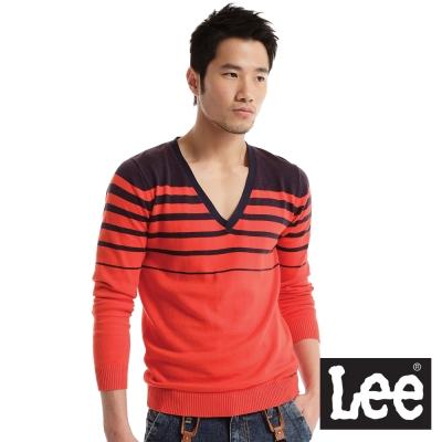 Lee-V領條紋毛衣-男款-橘