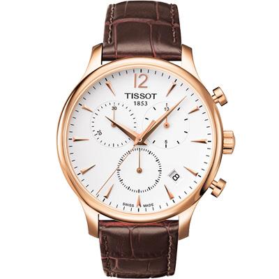 TISSOT Tradition 復刻計時腕錶-白x玫瑰金框/42mm T0636173603700