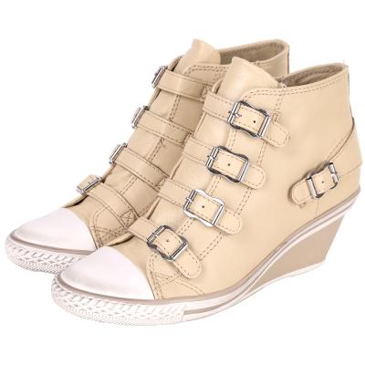 ASH GENIAL 經典羊皮釦帶楔型休閒鞋(駝色)