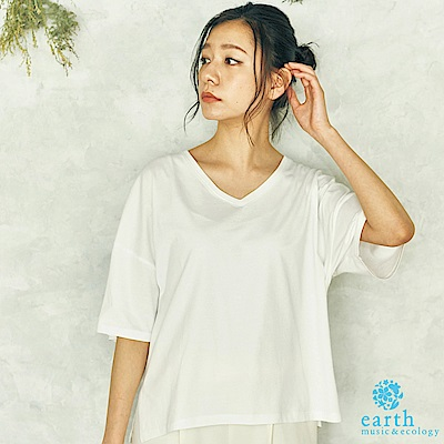 earth music 定番款素面V領五分袖純棉T恤