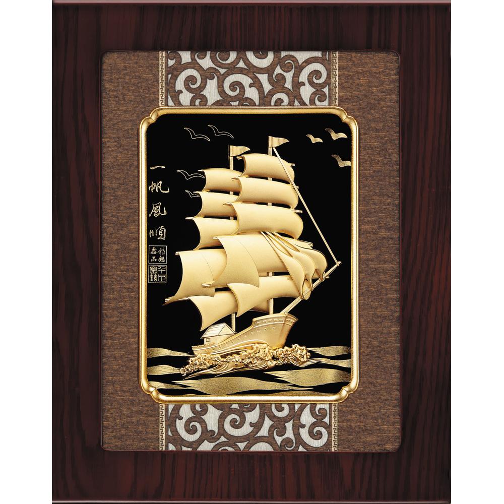 金箔畫 純金 古典中國風系列  船 一帆風順 27 x34 cm