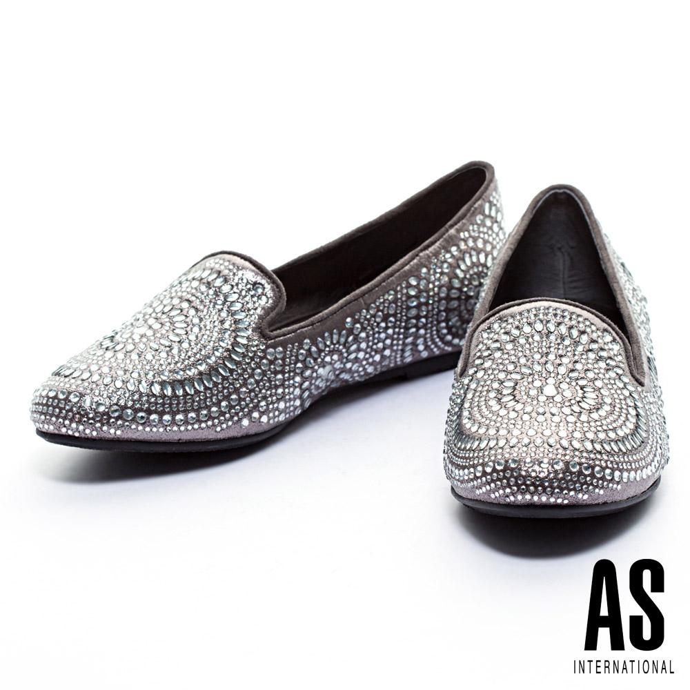 休閒鞋 AS 晶鑽圖騰造型內增高樂福休閒鞋-灰