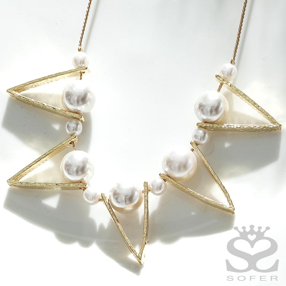 SOFER韓國設計 五芒星珍珠項鍊 - 金