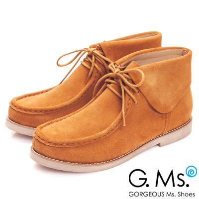 G.Ms. MIT系列-反摺牛麂皮高筒袋鼠鞋-獨特棕