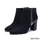 達芙妮DAPHNE 短靴-金屬色鍊條紋飾絨布粗高跟踝靴-黑