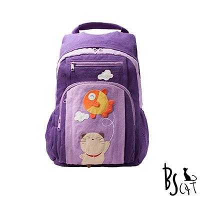 ABS貝斯貓 可愛貓咪拼布 雙肩後背包 背包 (紫) 88-199