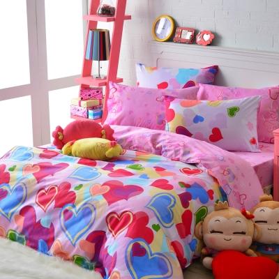 義大利Fancy Belle《甜漾心海》雙人四件式舖棉兩用被床包組