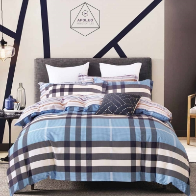 Ania Casa 台灣製 100%純棉 - 雙人床包被套四件組- 戀戀英倫-藍